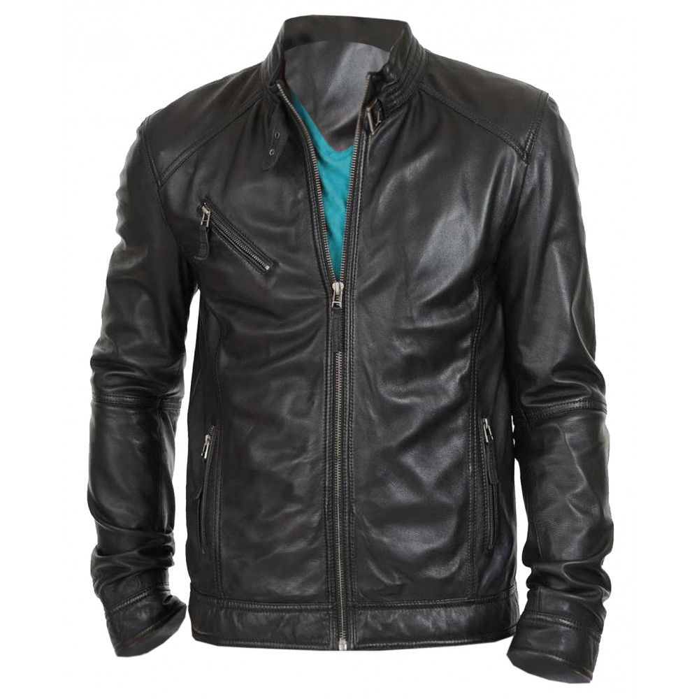Stylo Branded- Real Leather Jacket For Men In Biker