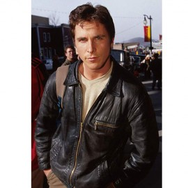Christian Bale Black Leather Jacket Worn In American Psycho