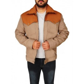 Casual Brown Cotton Jacket For Men