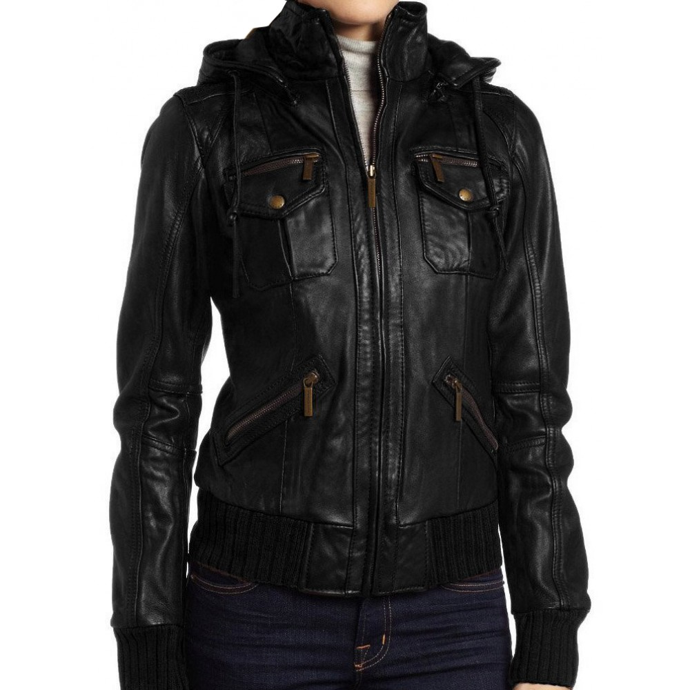 986fa672673 Azely- Bomber Lambskin Detachable Hooded Real Leather