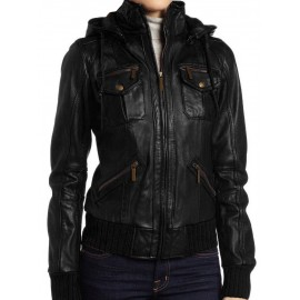 Azely- Bomber Lambskin Detachable Hooded Real Leather