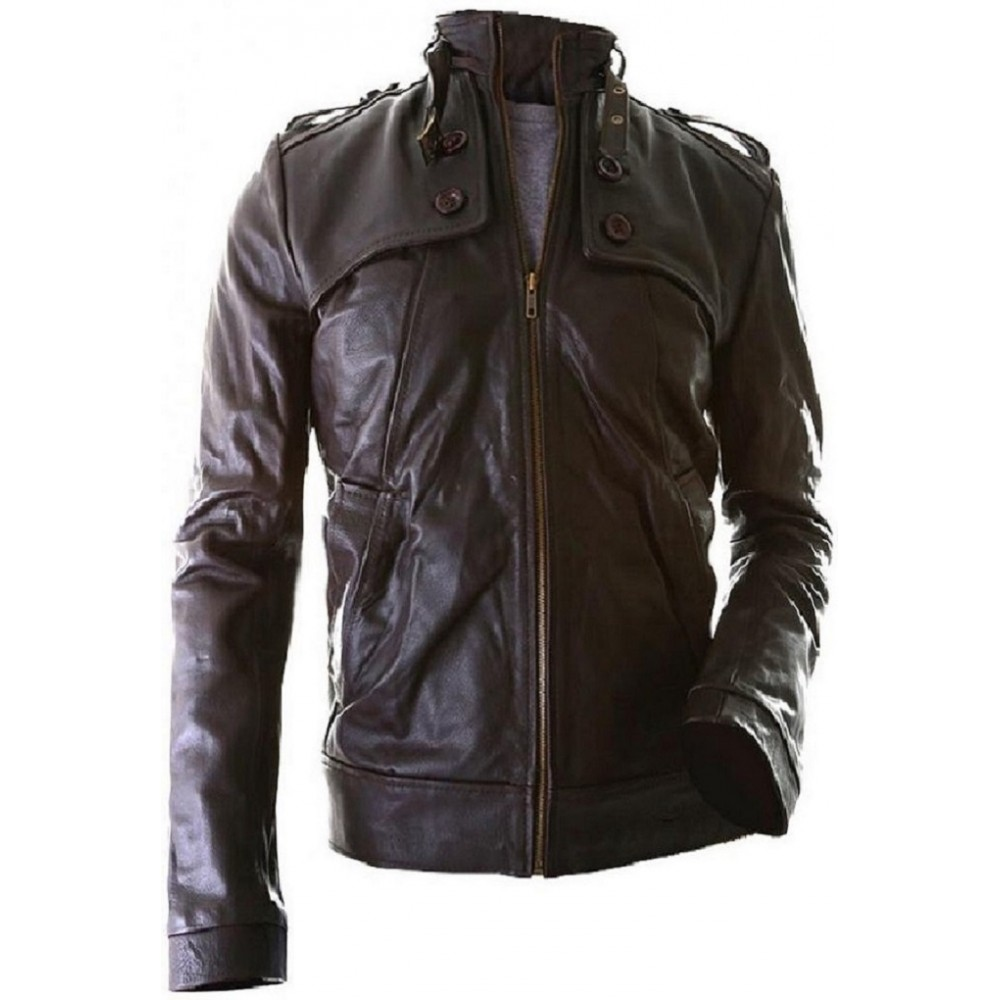 Biker Bro- Leather Jacket In Brown Color For Men Hand ...