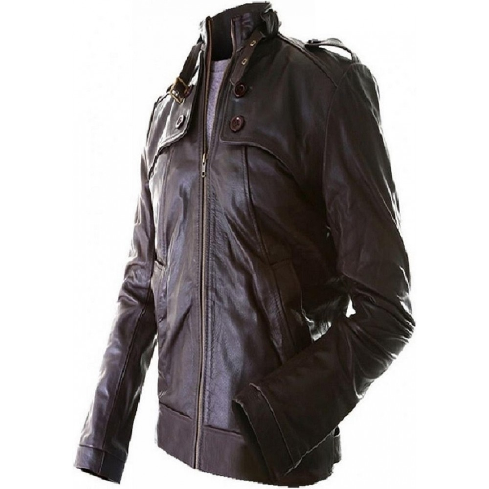 Bro- Leather Jacket in Brown Color For Men, Hand Stitched