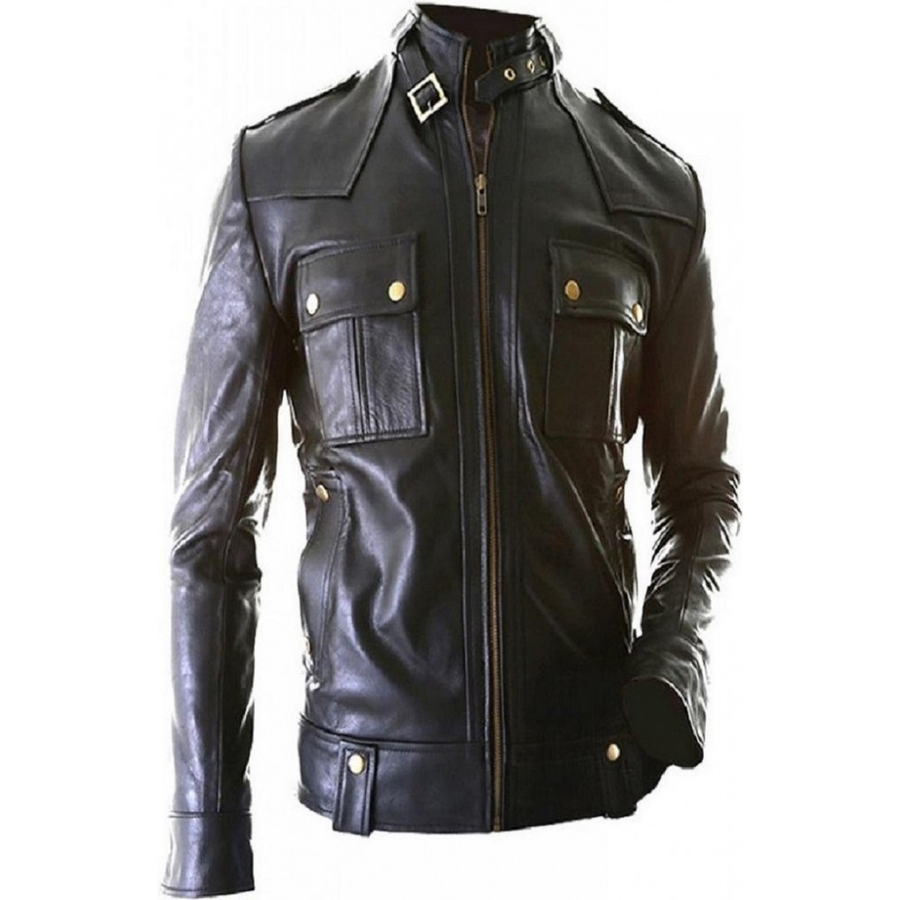 Biker- Men Real Leather Jacket In Black