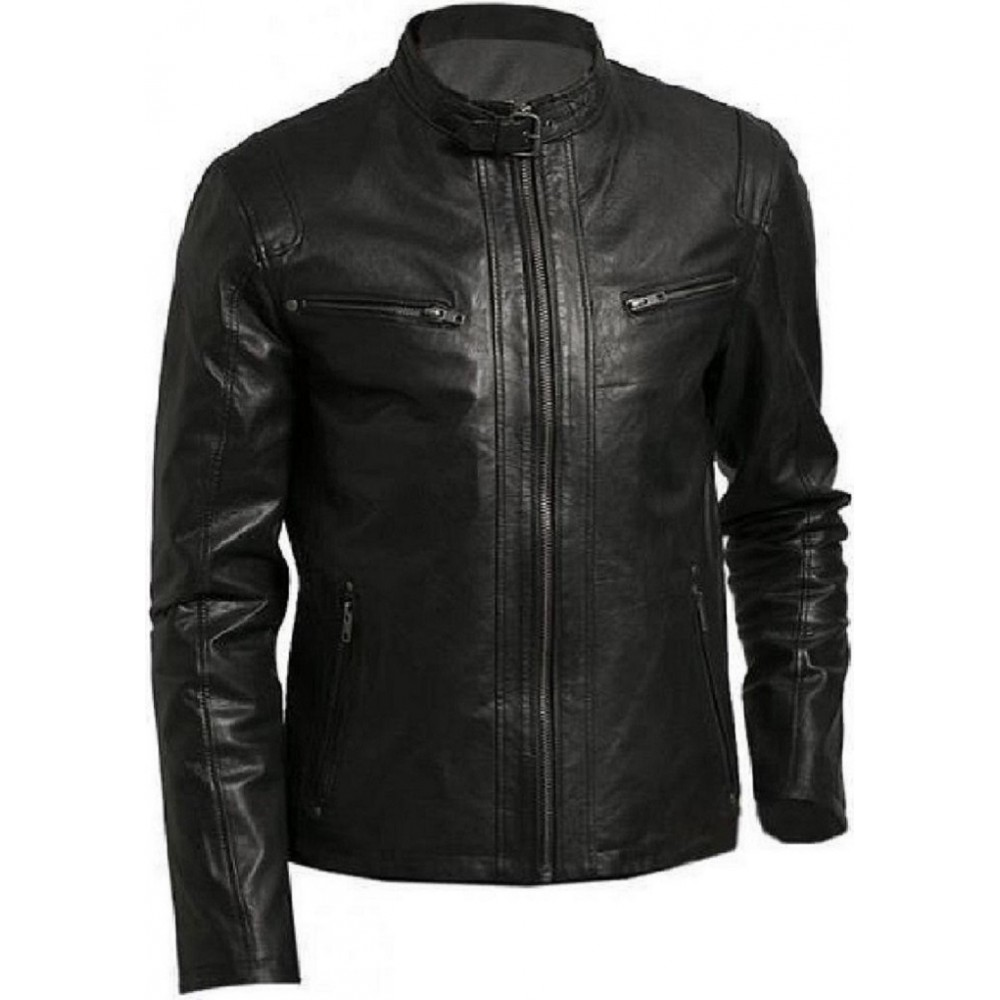 Vogo Biker Mens Real Lambskin Leather Jacket With Buckle