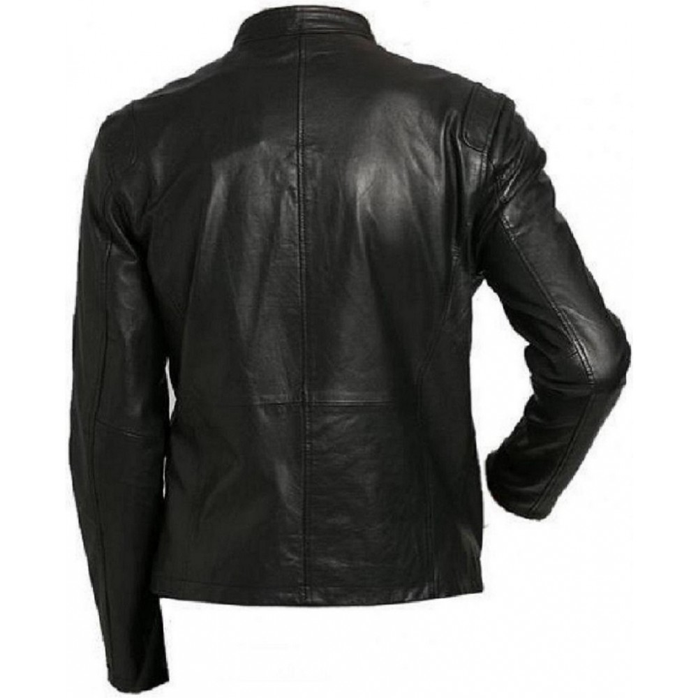 3d74028d2aa0 Vogo- Biker Mens Real Lambskin Leather Jacket With Buckle Strap Collar