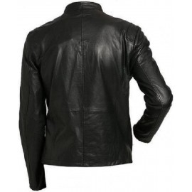 Vogo- Biker Mens Real Lambskin Leather Jacket With Buckle Strap Collar