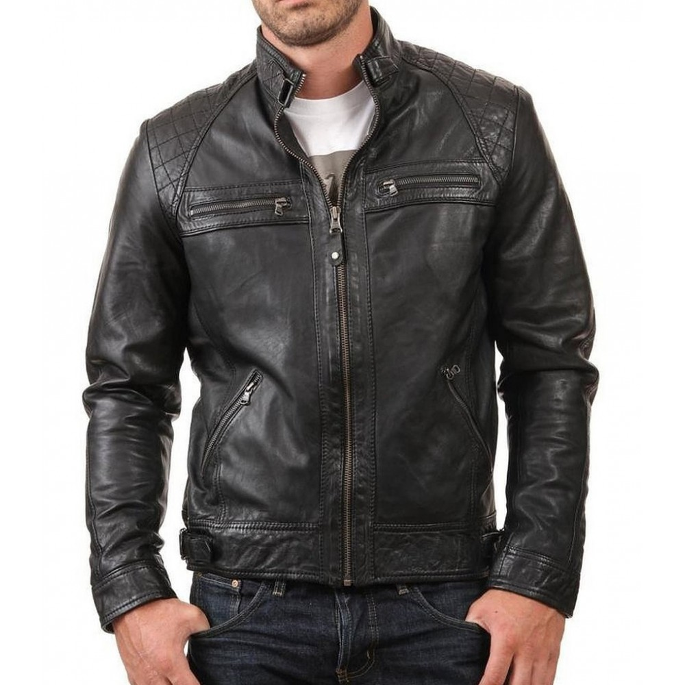Style- New Biker Mens Black Genuine Leather Jacket In Slim Fit