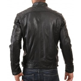 Vintage- New Biker Mens Black Genuine Leather Jacket In Slim Fit