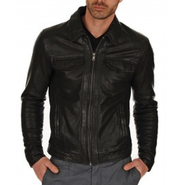 New Royal Men Club Biker Real Genuine Leather Jacket
