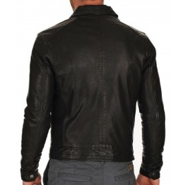 New Royal Men Club Biker Real Genuine Leather Jacket Large Size