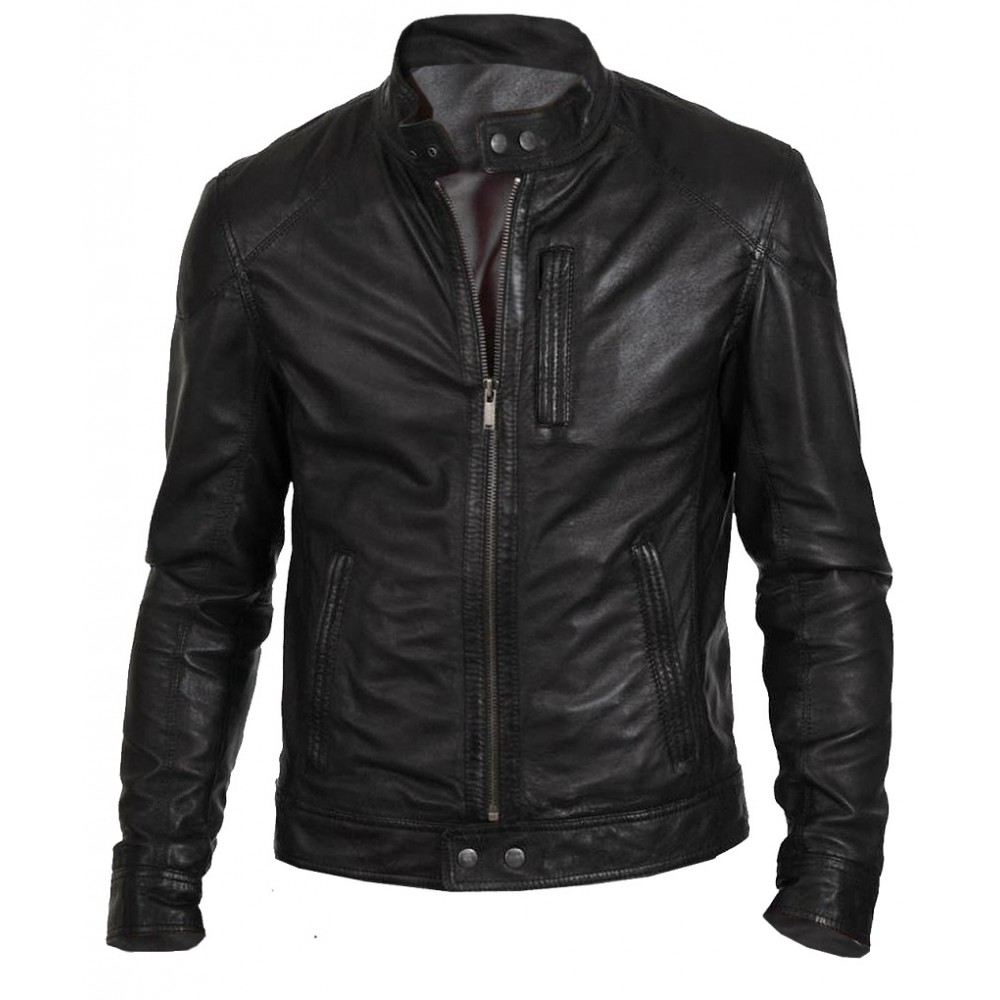 Biker Hunt Black Genuine Sheepskin Leather Jacket