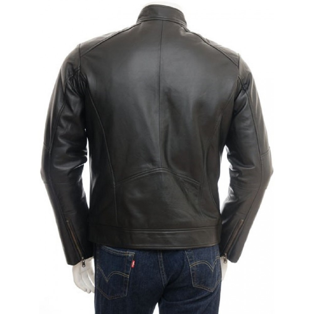 Genuine leather biker jacket
