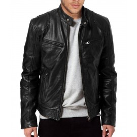 Sword Men Biker Black Leather Jacket