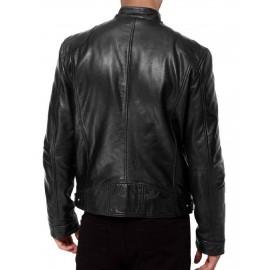 bf900ebe0bfe SWORD- Biker Black Genuine Sheepskin Leather Jacket
