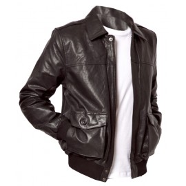 Hatto Bomber- Real Lambskin Leather Jacket in Coat Style