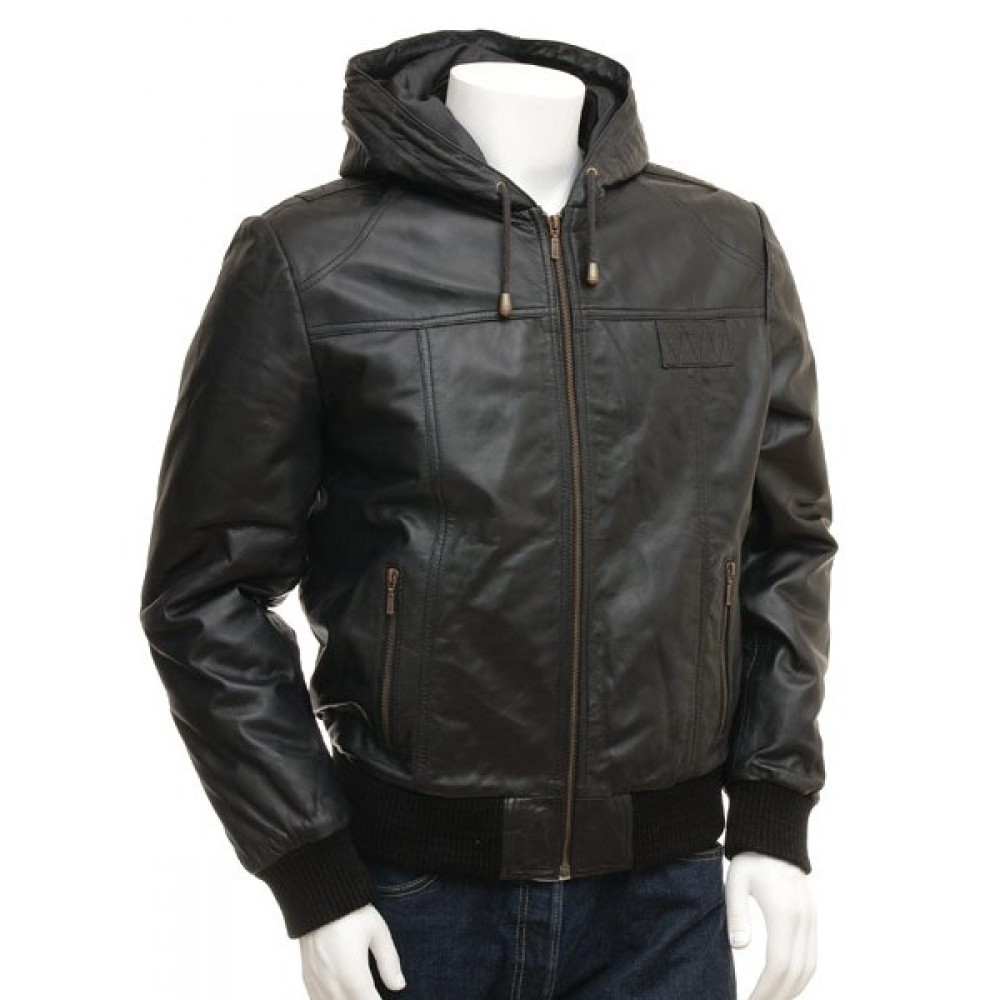 Marcus – Men s Genuine Leather Hooded Bomber Jacket c9a372bdc