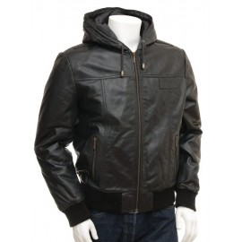 Marcus-Men's Genuine Leather Hooded Bomber Jacket