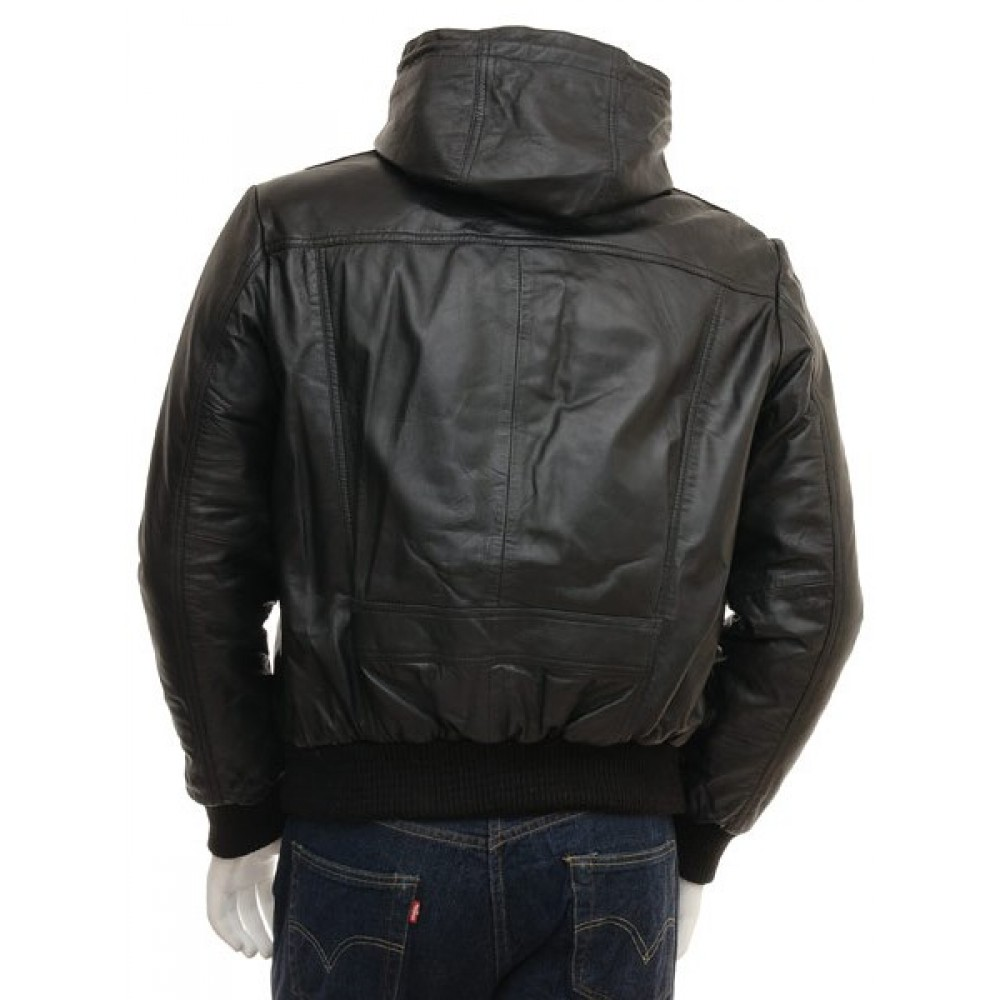 Men's Genuine Leather Hooded Bomber Jacket