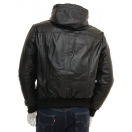 Marcus – Men's Genuine Leather Hooded Bomber Jacket