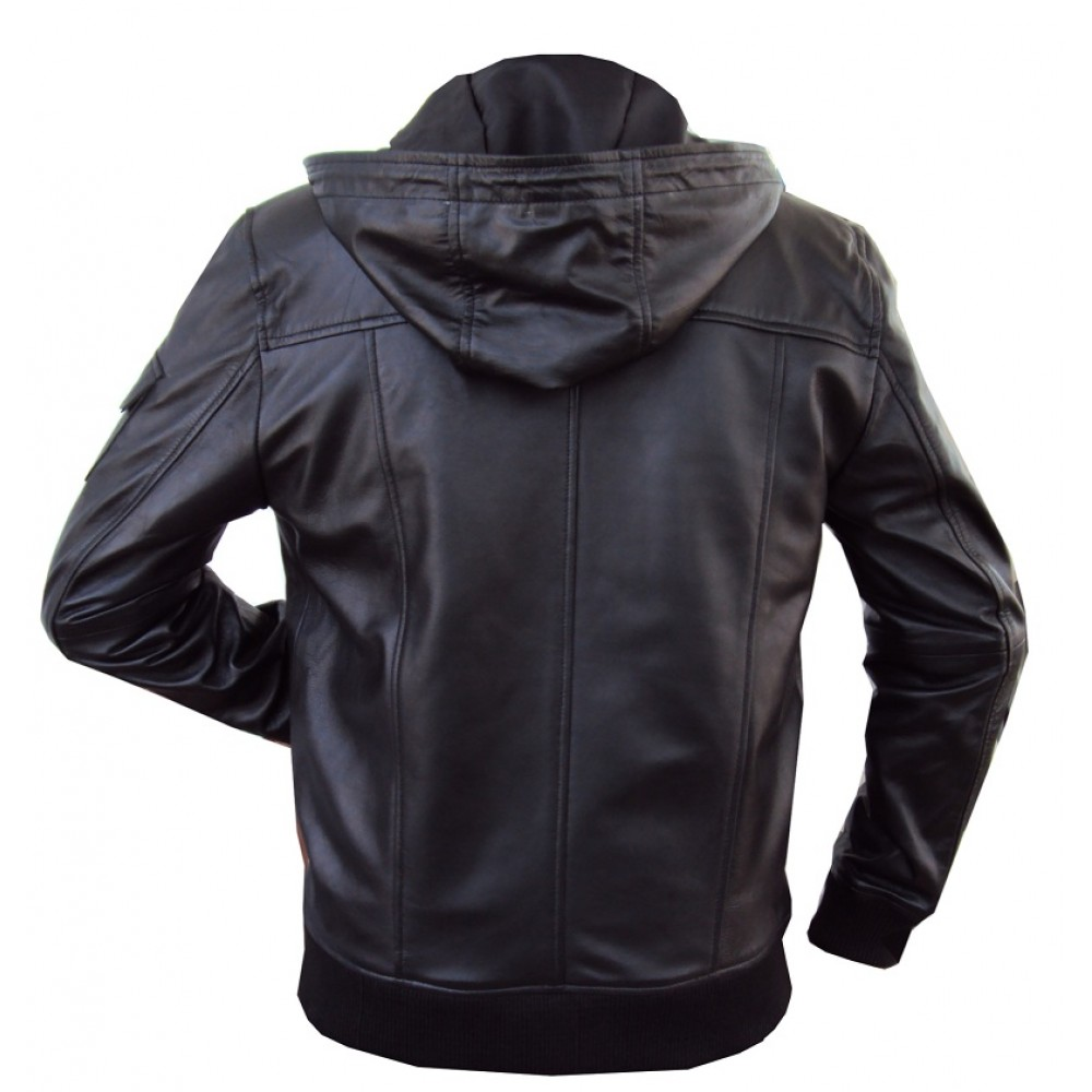 f377621d6 Jazy Bomber Genuine Lambskin Leather Jacket With Fixed Hoodie