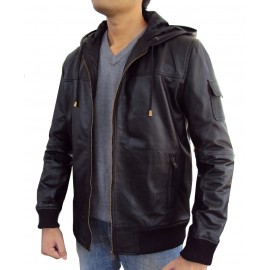 Jazy Bomber Genuine Lambskin Leather Jacket With Fixed Hoodie
