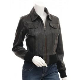 Penina- Bomber 100% Lambskin Leather Jacket in Black