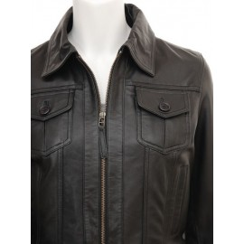 Penina- Bomber 100% Lambskin Leather Jacket in Black