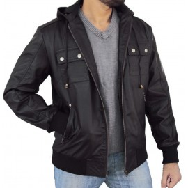 2be33a3913742 Solo- Bomber Jacket With Fixed Hoodie in Black Color