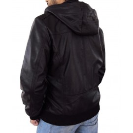 Solo- Bomber Jacket With Fixed Hoodie in Black Color