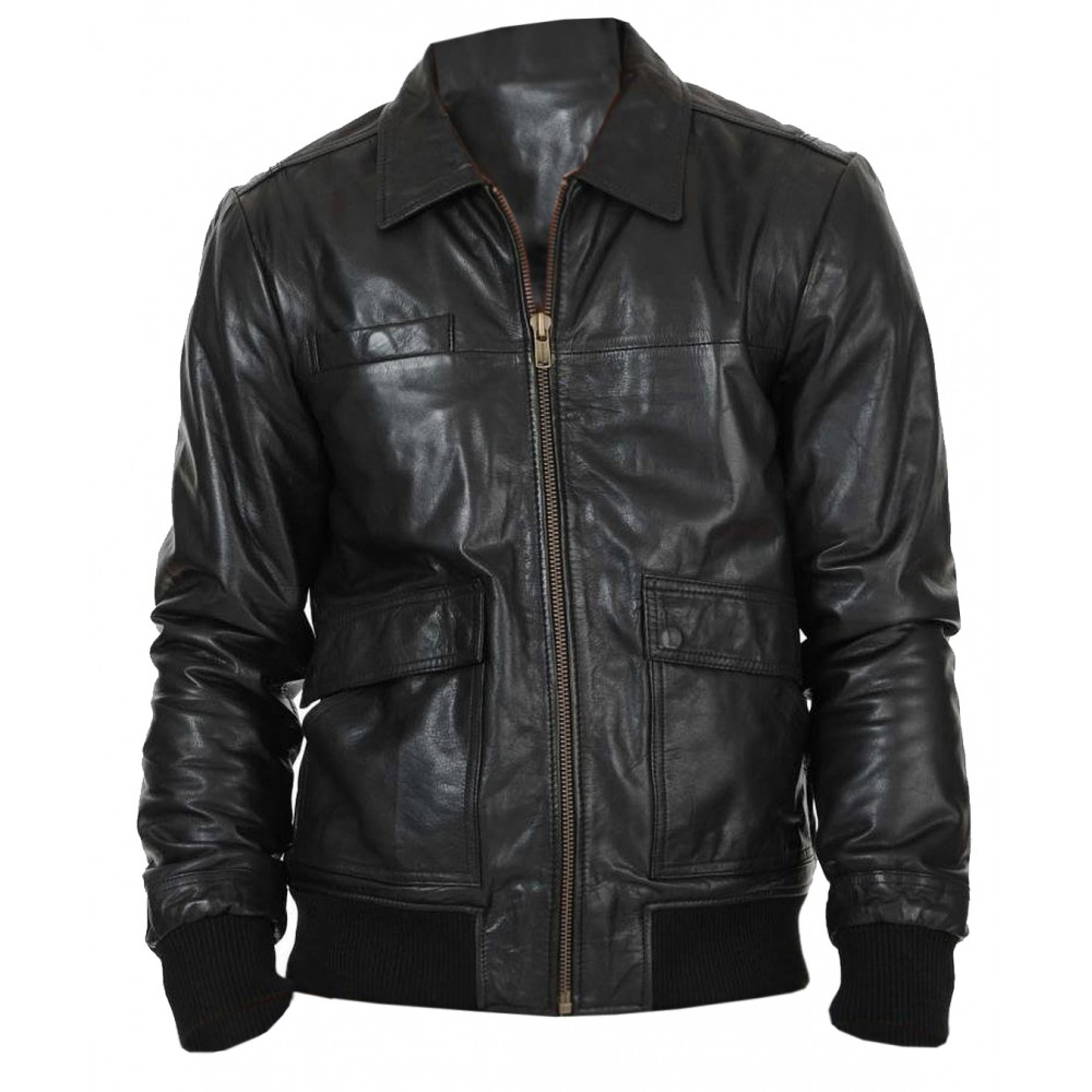 50598c49a Lexo Bomber Genuine Lambskin Leather Jacket For Men In Black