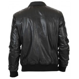Lexo Bomber Genuine Lambskin Leather Jacket For Men In Black