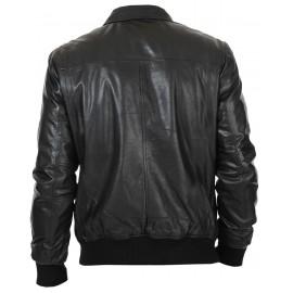 294862679e21 Lexo Bomber Genuine Lambskin Leather Jacket for Men in Black