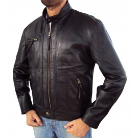 Vanni Biker Leather Jacket In Black New Stylish Desing
