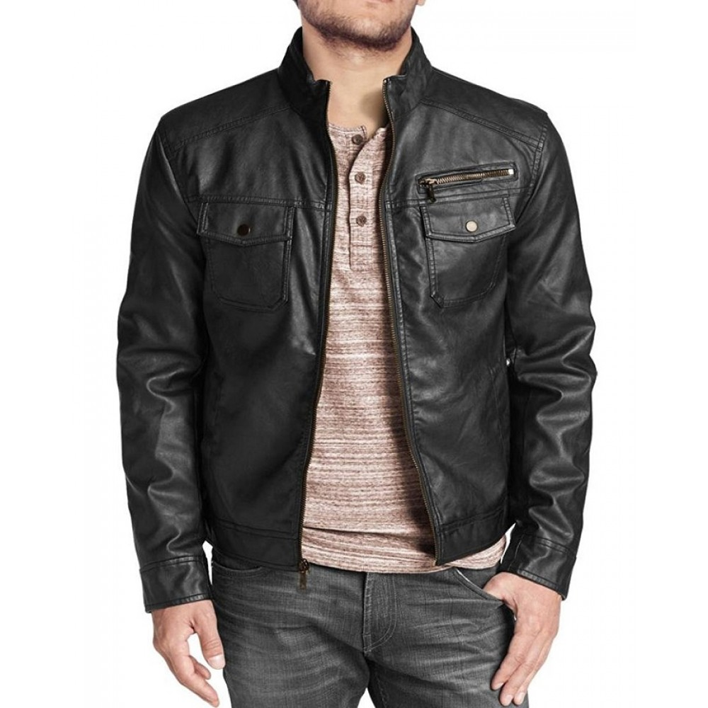 ef939272d Men s Marc Vintage Genuine Lambskin Leather Jacket In Black