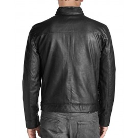 Men's Marc Vintage Genuine Lambskin Leather Jacket In Black
