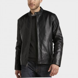 Super Marc New York Black Modern Fit Lambskin Leather Motorcycle Jacket