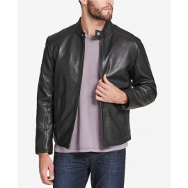 Men's Leather T Moto Jacket- Marc New York