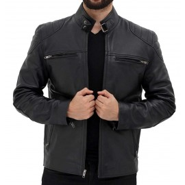 Viscose Real Men's Leather Biker Jacket