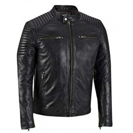 Cafe Racer Biker Real Leather Jacket With Quilted Shoulders