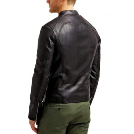 Jaxx Real Leather Biker Jacket In Black