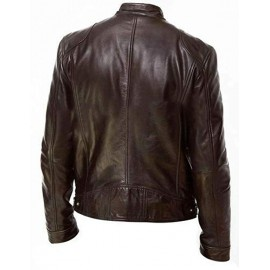 Sword Man Biker Leather Jacket In Brown