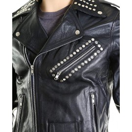 Men's Studded Real Lambskin Leather Super Brando Style Jacket
