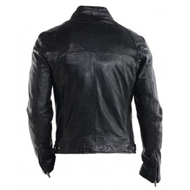 Top Racer Real Leather Biker Jacket In Black