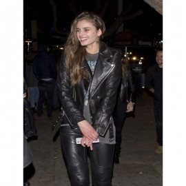 Taylor Hill Black Leather Jacket For Biker
