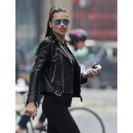 Adriana Lima Leather Jacket In Black