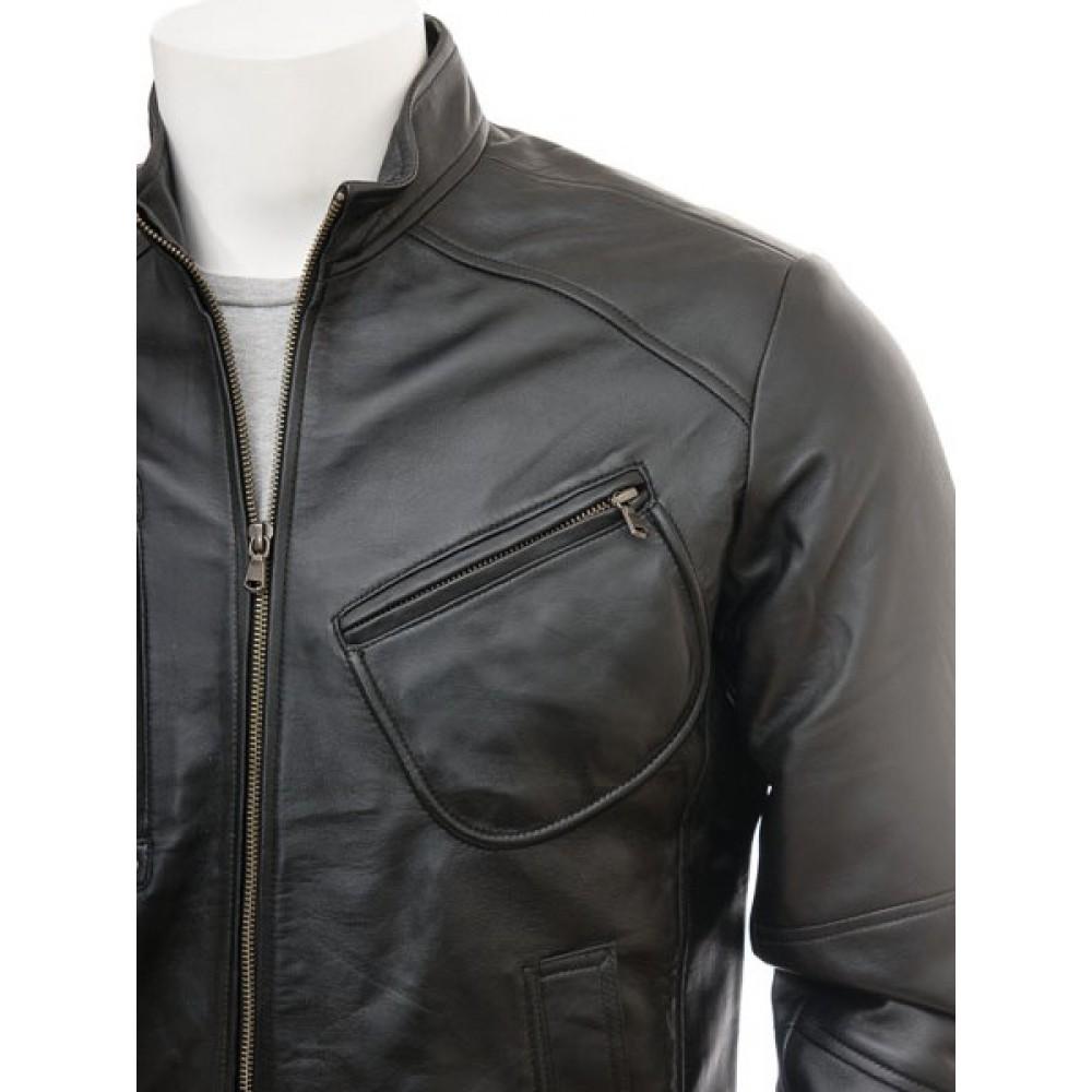 Men's Genuine Leather Biker Jacket