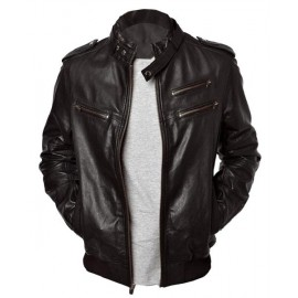 Enzo Bomber Men's Real Leather Jacket In Black