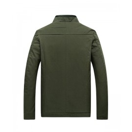 Green Cotton Jacket For Men