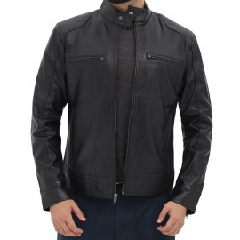 Dodge Black Leather Biker Jacket For Mens